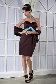 Modest Sweetheart Sheath Mini Length Chocolate Satin Mother Of The Groom Dress