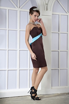 Modest Sweetheart Sheath Mini Length Chocolate Satin Mother Of The Groom Dress