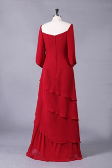 3/4 Sleeves Square Neckline Red Chiffon Mother Of The Bride Dress