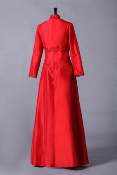 A-line Full Length Red Taffeta Mother Of The Bride Dress With Jacket