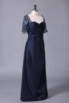 Short Sleeves Column Full Length Navy Blue Mother Of The Bride Dress