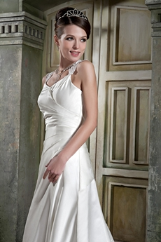 Keyhole Back A-line Ivory Satin Plus Size Wedding Dress