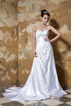 Great Handwork A-line Full Length Plus Size Satin Wedding Dress