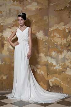 V-Neckline Sheath Floor Length Chiffon Beach Wedding Dress Corset Back