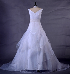 Plunge Neckline Puffy Organza Wedding Dress With Lace