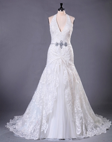 Top Halter Plunge Neckline Lace Wedding Dress