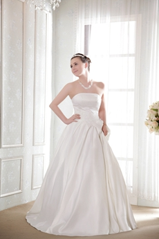 Strapless Floor Length Wedding Gown for Plus Size Brides