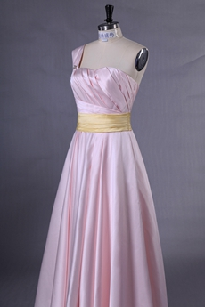 One Straps Puffy Floor Length Pearl Pink Satin Prom Dress