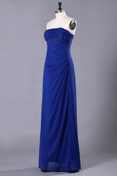 Affordable Strapless Column Full Length Royal Blue Bridesmaid Dress