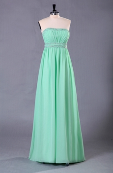 Elegance Column Full Length Tiffany Blue Prom Dress