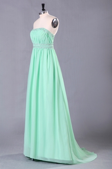 Elegance Column Full Length Tiffany Blue Prom Dress