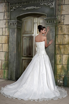 Dropped Waist Puffy Organza Princess Wedding Dress For Plus Size Women