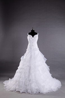 Straps White Organza Princess Wedding Dress With Ruffles