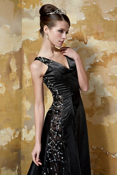 V-Neckline A-line Full Length Black Evening Dress With Beads