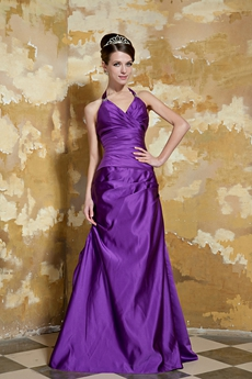 Halter Column Full Length Regency Purple Prom Dress