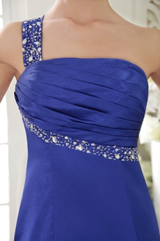 Straight/Column Full Length One Shoulder Royal Blue Evening Gown
