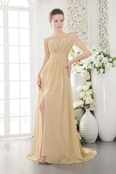 A-line Full Length Champagne Chiffon Prom Dress High Slit
