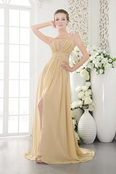 A-line Full Length Champagne Chiffon Prom Dress High Slit