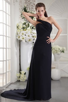 Elegance One Shoulder Column Full Length Navy Blue Prom Dress