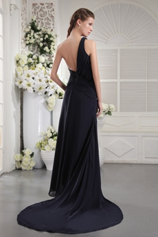 Elegance One Shoulder Column Full Length Navy Blue Prom Dress