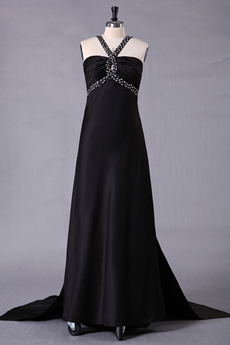 Crossed Straps Back A-line Full Length Black Prom Dress