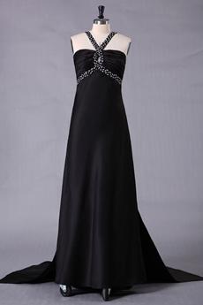 Crossed Straps Back A-line Full Length Black Prom Dress