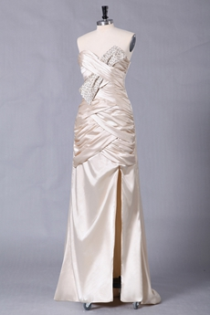Column Floor Length V-Neckline Champagne Evening Dress Side Slit