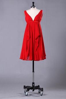 Plunge Neckline Empire Knee Length Red Maternity Prom Dress