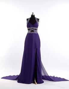 Regency Chiffon Evening Gown Halter Neckline