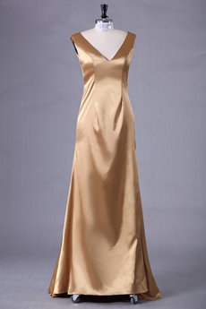Deep V-Neckline Gold Satin Mother Of The Bride Dress