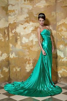 Sweetheart A-line Green Satin Celebrity Dress Front Slit