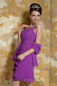 Sassy One Shoulder A-line Mini Length Regency Chiffon Prom Dress
