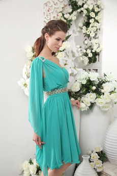 One Shoulder Knee Length Teal Chiffon Homecoming Dress