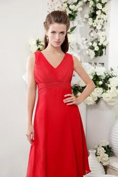 Inexpensive V-Neckline Red Chiffon Knee Length Bridesmaid Dress