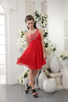 Mini Length One Shoulder Red Chiffon Homecoming Dress