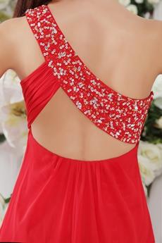 Mini Length One Shoulder Red Chiffon Homecoming Dress