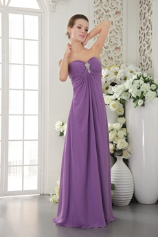 Sweetheart Eggplant Purple Chiffon Bridesmaid Dress