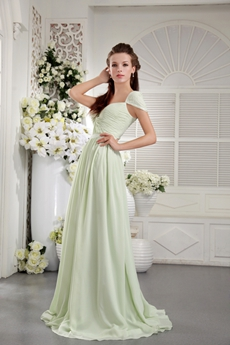 Cap Sleeves Straight Full Length Sage Chiffon Prom Dress