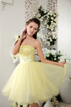 Adorable Dipped Neckline Puffy Mini Length Sweet Sixteen Dress