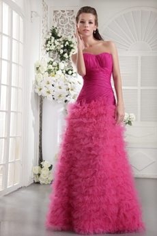 Multi Layered Sweetheart Fuchsia Organza Quinceanera Dress