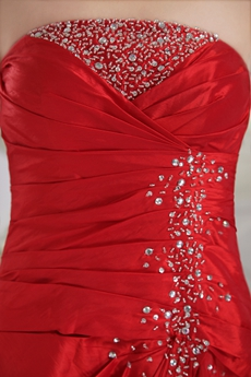 Ankle Length Red Satin Prom Dress Corset Back