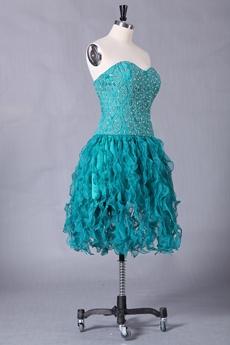 Dipped Neckline Teal Organza Knee Length Sweet Sixteen Dress