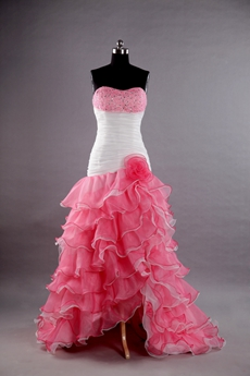 Colorful Pink And White Sheath Quinceanera Dress