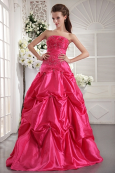 Hot Pink Taffeta Princess Quince Ball Dress With Embroidery Beads