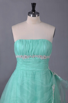 Sweet Strapless Puffy Floor Length Aqua Princess Quinceanera Gown