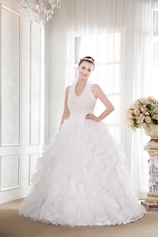 Special Long Halter Ruffled Quince Ball Gown 2016