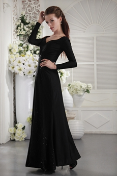 Straight Ankle Length Long Sleeves Black Mother Of The Bride Dress