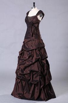 Chocolate Straps Column Full Length Taffeta Quinceanera Dress