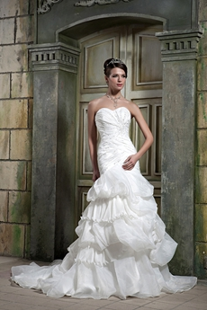 Sweetheart Sheath Floor Length Organza Wedding Dress Corset Back
