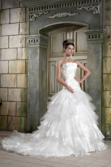Gorgeous White Organza Layered Ball Gown Wedding Dress
